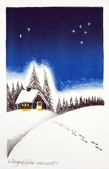 Vinterlandskap med stuga