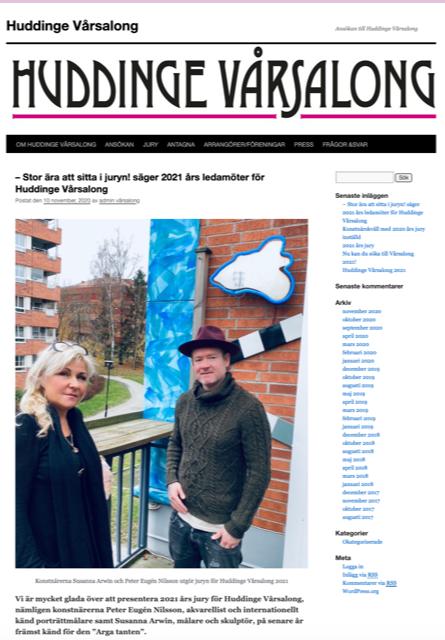 Konstnärerna Susanna Arwin och Peter Eugén Nilsson ingår i juryn för Huddinge Vårsalong 2021.